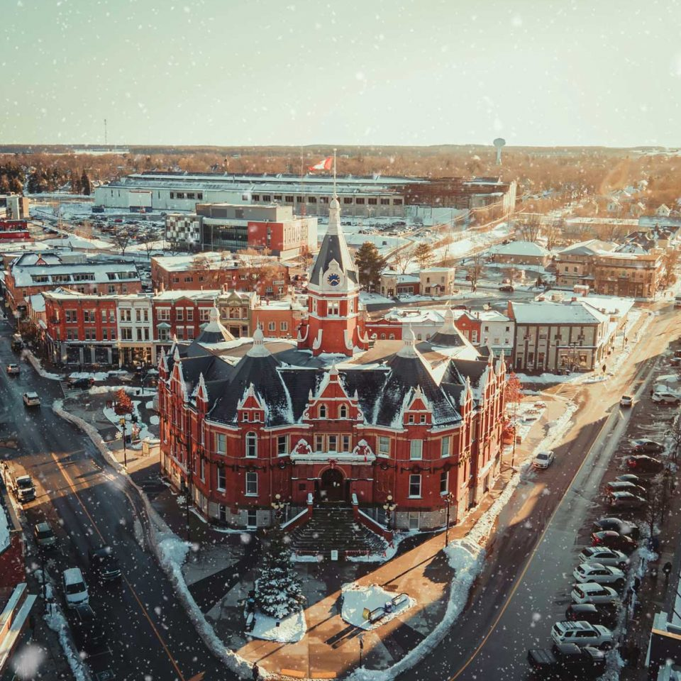 City Hall Snowy Drone Shot